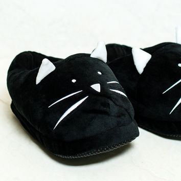 Cat Black Slippers