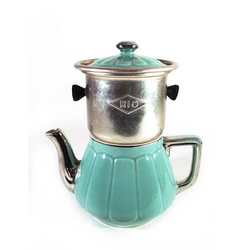 Rio Porcelain Coffee Pot  with Metal Infuser, 4 cups French Vintage Blue Green and Silver Teapot