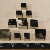 Lot of TEN! Small Nice and 100% Natural PYRITE Crystal Cubes! From Spain 108.9gr e