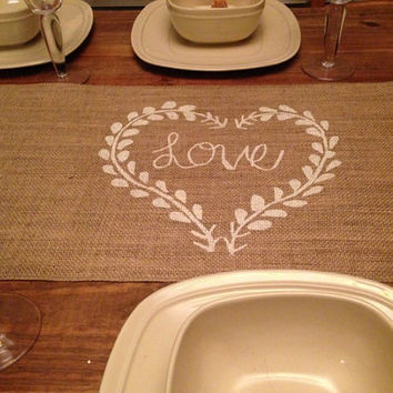 "Burlap Table Runner  12"", 14"" or 15"" wide with Love & border"