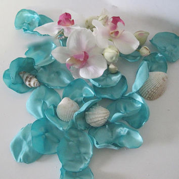 Aqua Satin Rose petals beach wedding, aisle, flower girl basket anniversary  romantic night with or without Flowers or Shells Wedding Decor