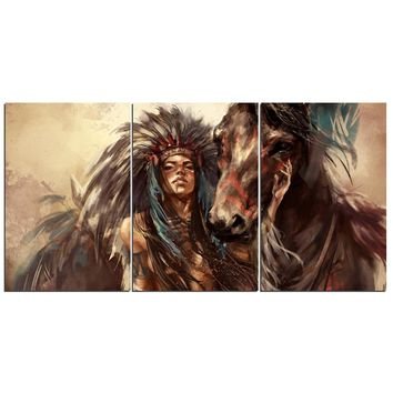3 Piece Wall Art Canvas Painting Abstract American Indian Brown Horse Print