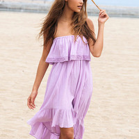 Strapless Ruffled A-line Midi Dress
