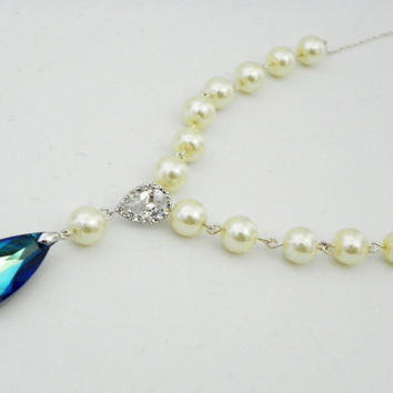 Pearl Wedding Necklace Bermuda Blue Swarovski Teardrop Ivory pearls Sterling Silver Something Blue Bridal Necklace Peacock Wedding
