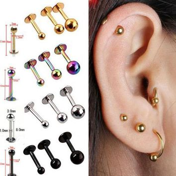 5pcs/lot 16g 18g Tragus Helix Bar 3 4mm Ball Stainless Steel Labret Lip Bar Rings Stud Cartilage Ear Piercing Body Jewelry