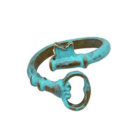 Antiqued Teal Be Open Ring