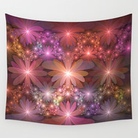 Bed Of Flowers Abstract, Fractal Art Wall Tapestry by Gabiw Art