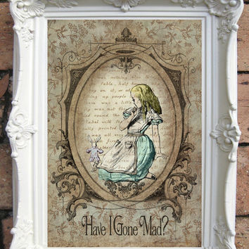 ALICE in Wonderland Quote Art Print. Shabby Chic Decor. Vintage Style Alice Wall Art. Alice in Wonderland Print. Alice Book Decor. Code:A012