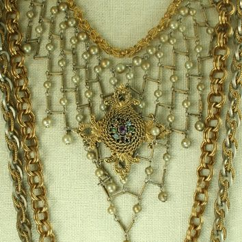 Chain Bib Necklace with a Vintage Brooch