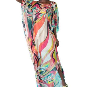 DCCKL6D 2017 Women Sexy Beach Wear Chiffon Pareo Kaftan Bathing Suit Sarongs Bikini Swimming Cover Up One Size