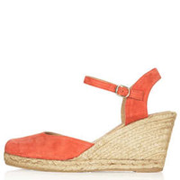 WHITBY Square Toe Espadrille Wedges - Orange