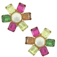 Ciner Multicolored Pearl Centre Flower Earrings | SOPHIESCLOSET.COM | Designer Jewelry & Accessories