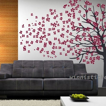 Vinyl Wall Decal Nature Design Tree Wall Decals Wall stickers Nursery wall decal wall art------ Cherry blossom tree