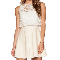 Alice + Olivia Juile Leather and Lace Dress in Cream