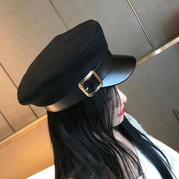 Women Black Military Hats Autumn Winter Fashion Wool Pu Leather Patchwork Newsboy Caps With Belt Female Gorras