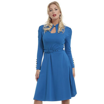 Dita Keyhole Neckline Flare Dress Blue