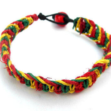 Rasta Hemp Bracelet For Men and For Women
