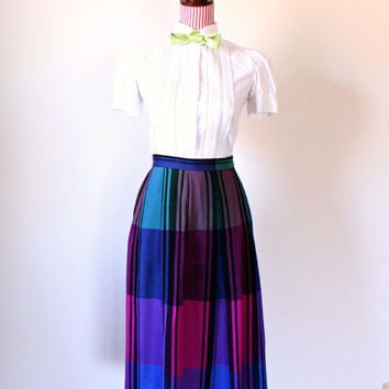 1980's Skirt / VINTAGE / Plaid / Pockets / Rainbow / Pleated / School Girl / Wool / Very Pretty!