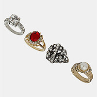 Topshop 'Stone & Faux Pearl' Assorted Rings (Set of 4) | Nordstrom