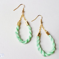 Mint Teardrop Cotton Candy Rope Earrings