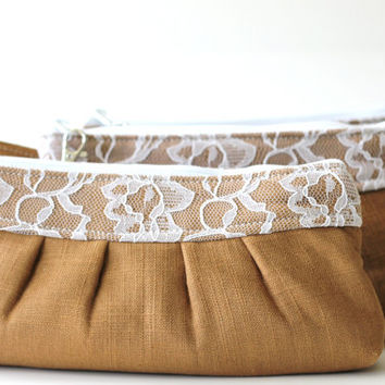 Set of 6 (six) Bridesmaids Clutches Wristlets, Brown Burlap with White Lace, Handmade wristlets, Handmade Clutches, Linen and Lace, Brown