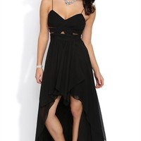 Long Dress with Wrapped Fabric Illusion Waist and High Low Hem