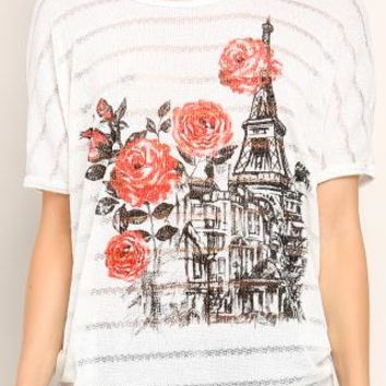 Red Roses Graphic Casual Top