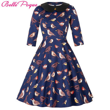 50s 60s Women Vintage Swing Dress 2017 Doll Collar Elegant Tunic Half Sleeve Retro Vestidos Casual Rockabilly Summer Dresses