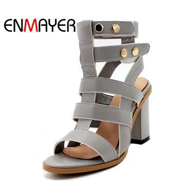 ENMAYER Open Toe Summer Woman Platform Sandals Gladiator Hook Slingback Plus Size 34-43 Cross-tied Cuts-outs High Heels Sandals