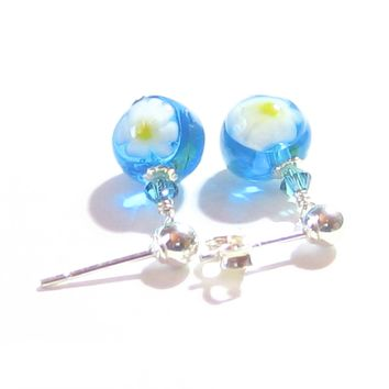 Murano Glass Small Aqua Millefiori Ball Silver Earrings
