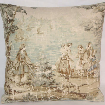 "Pale Aqua Pictorial Toile Pillow Vintage Look 17"" Square Covington Bosporus Ivory Blue Green Tan Ladies & Trees Linen Blend  Ready Ship"