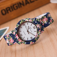Hot Sale New Women Girl Navy Blue Printing Flower Edge 2 Background Color Alloy Watch Fashion Accessory Gift [7956368263]