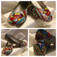 Custom Marvel or DC Comic Book Fabric Decoupage Shoes (Flats)