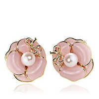 Camellia Studs Bowknot Earrings