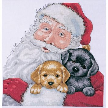 "Santa With Puppies Counted Cross Stitch Kit 13""X13"" 14 Count"