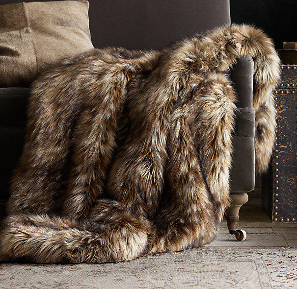 Exotic Faux Fur Throw Siberian Red Fox From Restoration