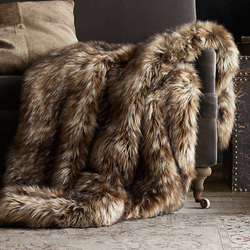 Exotic Faux Fur Throw - Siberian Red Fox
