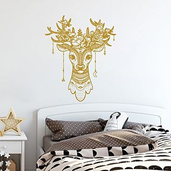 Deer Antler Wall Decals Deer Wall Decal Deer Head Vinyl Decal Boho Style Home Decor Deer Bedroom Decor Horns Hunting Wall Modern Decal SN34