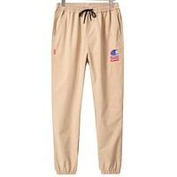 Champion Tide brand joint name Supreme men's and women's casual beam pants khaki