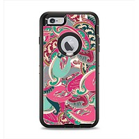 The Colorful Pink & Teal Seamless Paisley Apple iPhone 6 Plus Otterbox Defender Case Skin Set