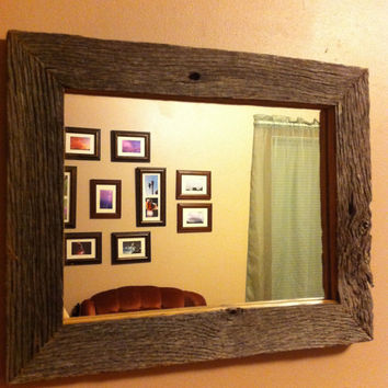 Reclaimed Rustic Barn Wood Frame Mirror by 3SistersCountryStore