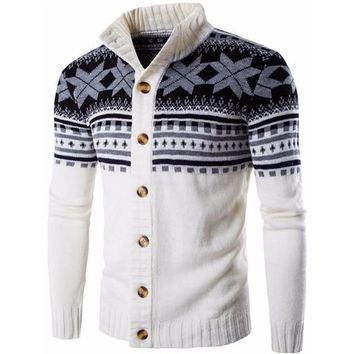 Men Sweater Cardigan Casual Sweater Male Collar Folk-Custom Slim Fit Knitting Men's Sweaters Man Cardigan Men