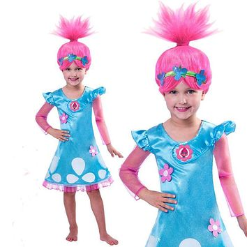 New 2017 Trolls Party Dress for Girls Baby Kid Costumes Autumn Christmas Flower Cartoon Girl Dresses Wig Toddler Clothing Troll