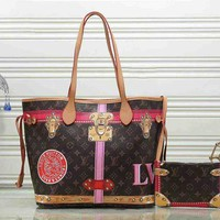 Louis Vuitton Women Leather Handbag Bag Cosmetic Bag Lock Buckle Two Piece Set