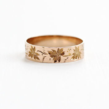 Antique Victorian 10k Rose Gold Leaf Ring - Size 6 3/4 Vintage Late 1800s Floral Wedding Cigar Band Fine Stacking Jewelry