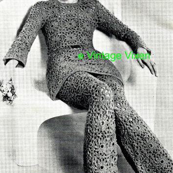 Hippie 70's CROCHET Dress & Bell Bottoms - PDF Pattern - Instant Download Vintage Crochet Pattern