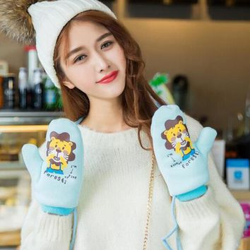 New Winter Thicken Plus Cashmere Knitted Velvet Double Layer Warm Cute Cartoon Animal Monkey Mittens Men Women Couple Gloves L81