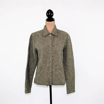 Taupe Gray Boiled Wool Jacket Women Medium Large Casual Felted Jacket with Pockets Gray Jacket Evan Picone Vintage Clothing Womens Clothing