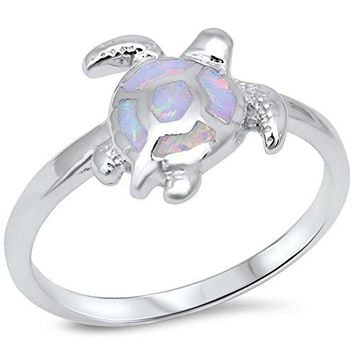 Lab Created White Opal Turtle 925 Sterling Silver Ring sizes 410