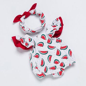 Ruby's Red Watermelon Sleeveless Romper + matching Headband
